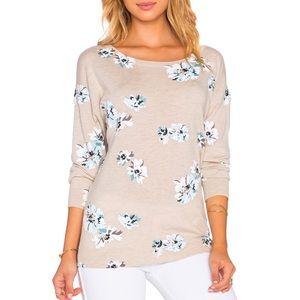 Joie Eloisa Floral Heathered Oatmeal Wool Sweater